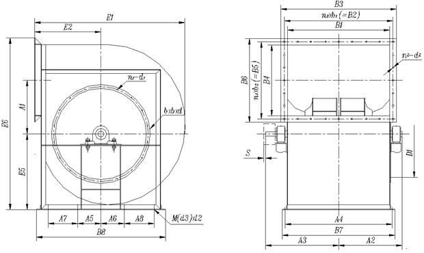 离心通风机外形及安装尺寸图
